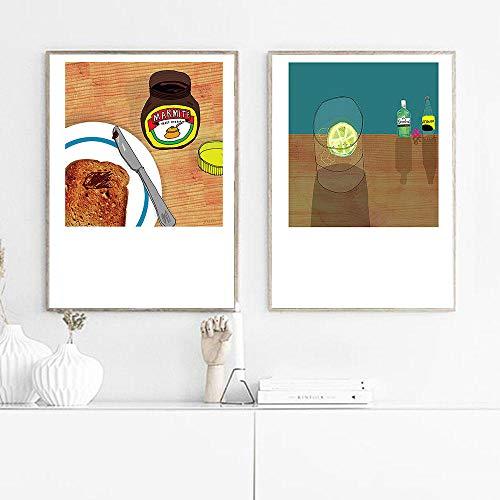 N / A Stillleben Gin Wandkunst Leinwand Poster Toast Marmite Druck Minimalistische Malerei Nordic Dekorative Bild...