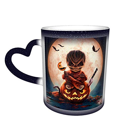 Taza que cambia de color de cielo estrellado unisex de calabaza malvada, taza de café de cerámica como regalo para cumpleaños, día del padre y vacaciones, 11oz-613