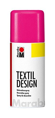 Marabu 17240006334 - Textil Design neon pink, Dekorationsspray auf Acrylbasis, 150 ml, schnell trocknend, wetterfest, lichtecht, bedingt waschbeständig, zum kreativen Gestalten auf Stoff
