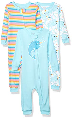 Spotted Zebra Snug-Fit Cotton Footless Sleeper Pajamas pajama-sets, 3er Pack, Mehrfarbig (Narwhals), 90 cm (Herstellergröße:2T)