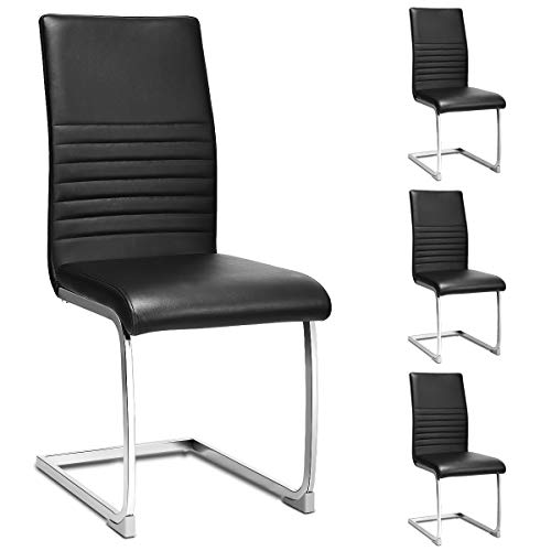 Giantex Set of 4 PU Chairs, High Back PU Leather with Solid Chrome Legs, Modern Home Kitchen Living Room Furniture, 4 Pcs PU Leather Dining Chairs (Black)