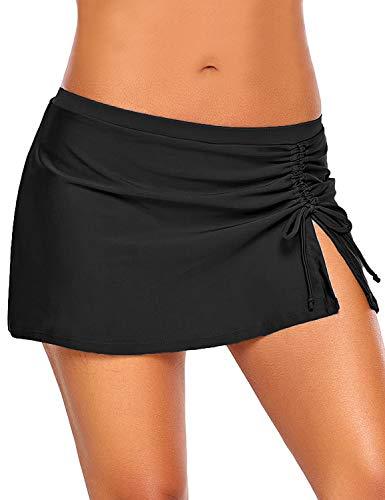 luvamia Women's Black Swim Skirt Side Slit Self Tie Swimsuit Bottom Solid Medium (Fits US 8 - US 10)