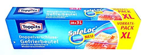 Toppits Safeloc Beutel Doppelverschluss Gefrierbeutel XL vorratspack (28 x3L)