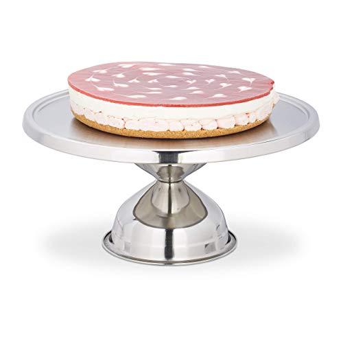 Relaxdays 10027632 Plateau pour tartes, Acier Inoxydable, pour Servir et décorer, Plat pour gâteau, H x D 15 x 32,5 cm, argenté