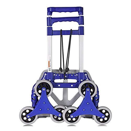 Handwagen Rolley Portable Blue 6 Wheel Climbing Car Home Truck Zusammenklappbarer Einkaufswagen Einfach Zu Reinigen (Color : Blue, Size : 53 * 10 * 65cm)