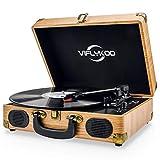 Platine Vinyle,VIFLYKOO Platine Vinyle à encodeur numérique portabl Bluetooth avec Haut-parleurs stéréo intégrés à Trois Vitesses 33/45/78 TR / Min et entrée / Sortie AUX - Bois Naturel (SBCPJ-LJWY)