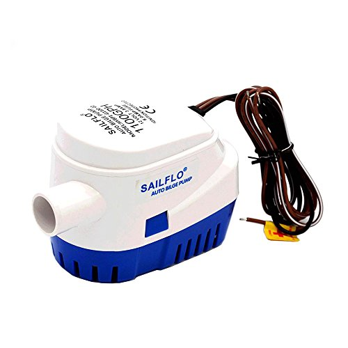 Wisamic Bomba de sentina sumergible automática para barco 12V 1100GPH con interruptor de flotador interno