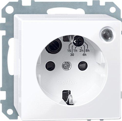 Merten 501125 SCHUKO-Timersteckdosen-Einsatz mit BRS, aktivweiß glänzend, System M