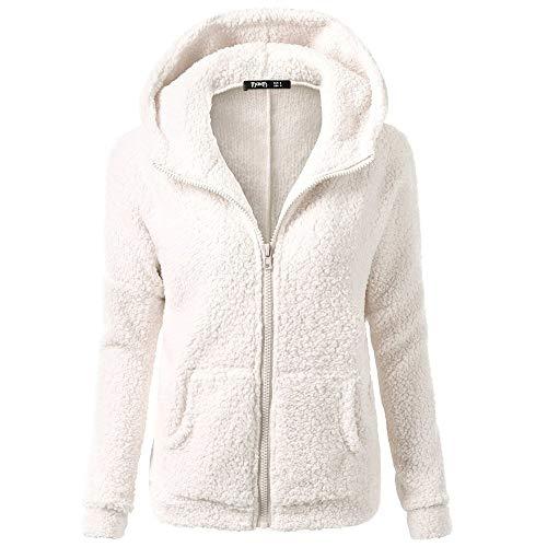 Aniywn Women Hooded Sweater Coat Ladies Winter Warm Wool Zipper Jacket Cotton Coat Outwear Plus Size White