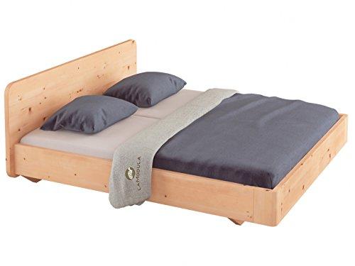 LaModula Zirbenbett Clara (ohne Nachttische) | schwebendes Zirbenholzbett metallfrei | Arvenbett | Massivholzbett | Bett natürlich & unbehandelt (180 x 200 cm)