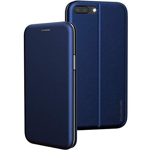 BYONDCASE iPhone 8 Plus Hülle Blau, iPhone 7 Plus Hülle [Deluxe Leder Flip-Hülle Klapphülle] Handyhülle iPhone 8/7 Plus Fullbody 360 Grad R&umschutz kompatibel mit dem iPhone 8/7 Plus Hülle