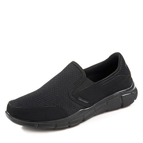 Skechers Equalizer-Persistent, Zapatillas sin Cordones Hombre, Negro (BBK Black Mesh/Duraleather/Trim), 42 EU