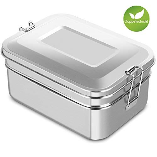 Adkwse Brotdose Edelstahl 2000ML, Lunch Box mit 2 Fächern, BPA & Plastik Frei Brotzeitbox für Erwachsene, Büro, Ausflug Geeignet