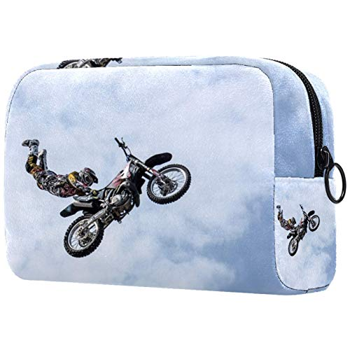ATOMO Bolsa de maquillaje, cosmética de moda, bolsa de viaje grande neceser organizador de maquillaje para mujeres, motociclista moto acrobática