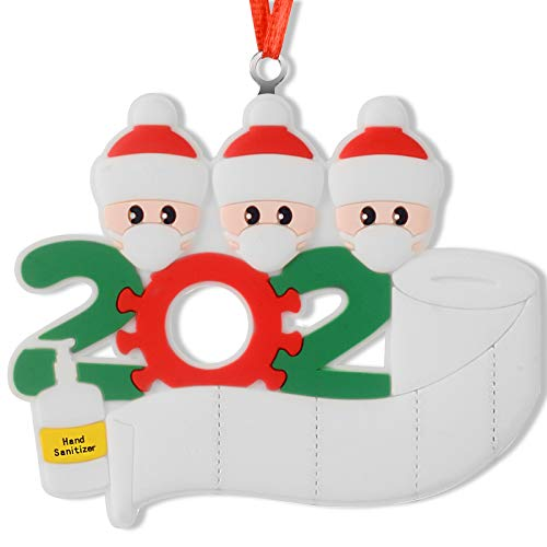 FLYKISS 2020 Christmas Ornaments Quarantine Survivor DIY Outdoor Christmas Decorations- Hanging Decor for Tree 3 Members