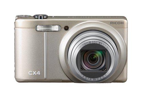 Ricoh CX4 Digitalkamera (10 Megapixel, 10-fach opt. Zoom, 7,6 cm (3 Zoll) Display, Bildstabilisator) champagner silber