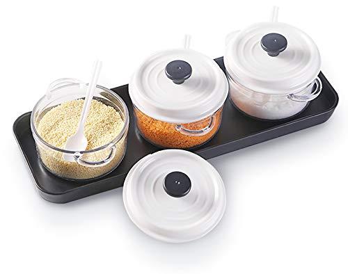 Miystn Botes Cocina Almacenaje, Saleros de Cocina con Tapa, Azucarero y Salero, Caja para Ingredientes de Cocina (1 Juego)