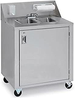 "Crown Verity CV-PHS-2 34.375"" Portable Double Sink Cart with Cold and Hot Water 120 Volts Water Heater Removable Fresh Water Tanks and Backsplash with Soap and Towel Dispensers in St"