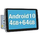 Vanku Android 10 Autoradio Moniceiver mit Navi 4GB+64GB 10 Zoll Bildschirm Unterstützt Qualcomm Bluetooth 5.0 DAB + Android Auto WiFi 4G USB MicroSD 2 Din Universal