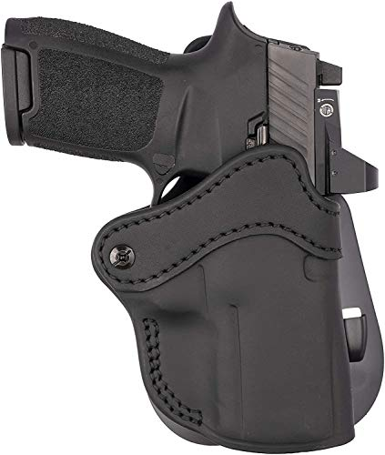 1791 GUNLEATHER G19 Paddle Holster - OWB CCW Holster - Right Handed Leather Gun Holster for Belts - Compatible for Glock 19, 23, 27, Sig P225, Springfield XDS (Optic Ready - Black)