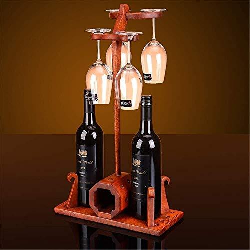 JJ0226 Porte-vin en bois massif vin de vin de vin de bois de rose décoration gobelet à l'envers salon de salon créatif vin de verre porte-support support de stockage (couleur: rouge, taille: 56x18x32c