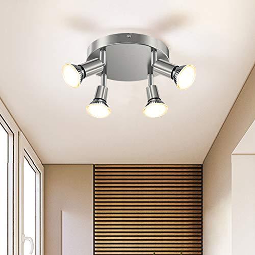 Round 4-Light LED Track Lighting Kit, CRI≥90+, Rotatable Light Head, 4 Way Ceiling Track Light for Bedroom/Hallway/Office, ø180mm, Matte Nickel (Incl. 4X 5W GU10 LED Light Bulbs, 510LM, 2700K)