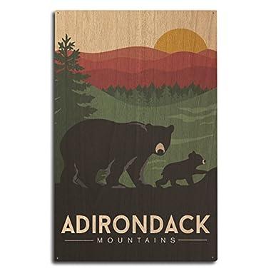Adirondack Mountains, New York - Black Bear and Cub (10x15 Wood Wall Sign, Wall Decor Ready to Hang)