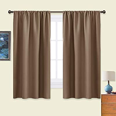 NICETOWN Kids Blackout Curtain Panels - Window Treatment Thermal Insulated Solid Rod Pocket Blackout Curtains/Drapes for Bedroom (Set of 2 Panels, 42 by 63 Inch, Cappuccino)