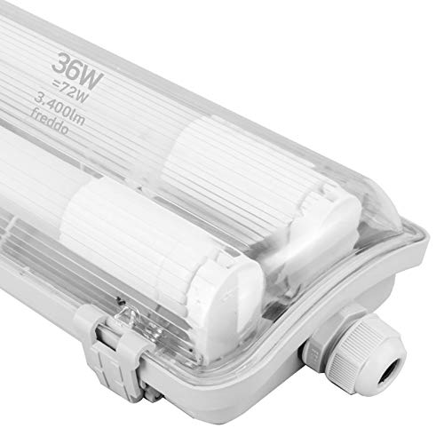 1x Plafoniera LED a 2 Tubi 120cm Impermeabile IP65 36W Trasparente 3400 lumen - Luce Bianco Freddo 6400K - Fascio Luminoso 120° - Sostituzione Neon