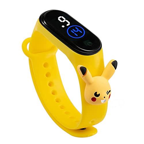 Sysow Pokemon Pikachu Electrónico LED Muñeca Reloj Pulsera Reloj Dibujos Animados Niños Estudiante Plástico Toque Impermeable Reloj Regalos de Cumpleaños Niños Muñeca Reloj Digital