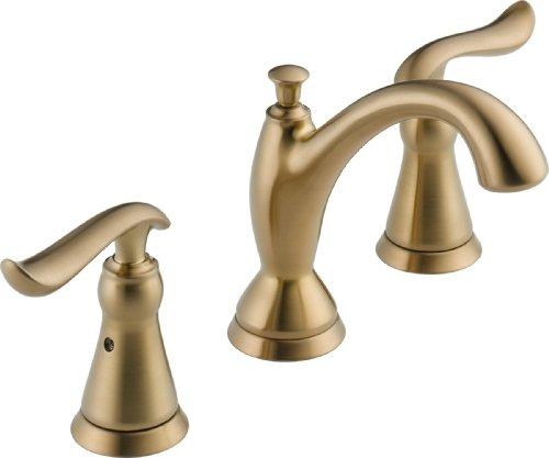 Delta Faucet Linden Widespread Bathroom Faucet 3 Hole, Gold Bathroom Faucet, Diamond Seal Technology, Metal Drain Assembly, Champagne Bronze 3594-CZMPU-DST