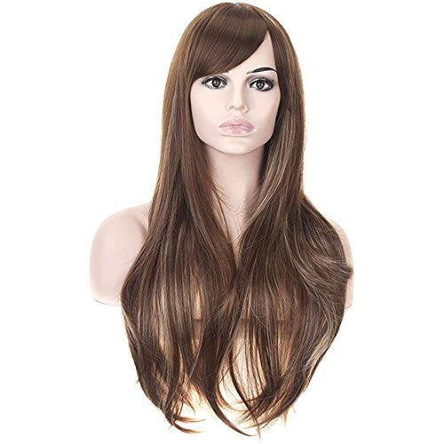 Yuyanshop Peluca larga ondulada para mujer con flequillo lateral largo y rizado, pelucas sintéticas para mujeres negras para fiesta diaria Cosplay peluca (marrón)