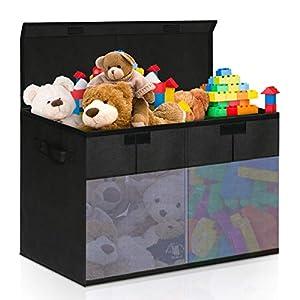 Cajas Almacenaje de Juguetes Plegable, Caja Organizadora con Compartimento y Tapa y Asa, Contenedores de Almacenamiento para Ropa Juguetes Libros, 75x34x41cm Negro
