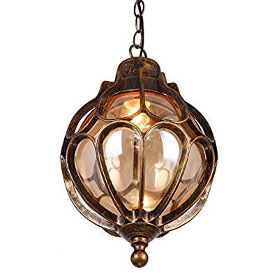Outdoor Waterproof Ceiling Pendant Lights Loft Vintage Industrial Aluminum Glass Ball Rainproof Exterior Hanging Lamps Continental Vineyard Villa Courtyard Chandeliers Lighting (Bronze/33cm)