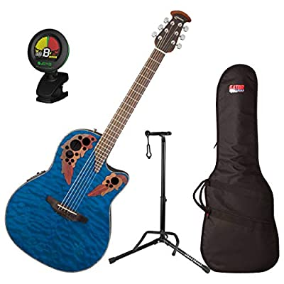 Ovation CE44P-8TQ Celebrity Elite Plus Mid-Depth Transparent Blue Quilt A/E Guitar with Gig Bag, Stand, and Tuner