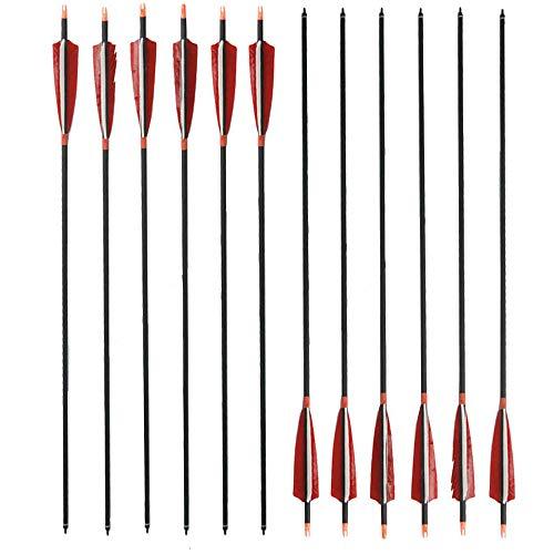 Milaem 30 Pulgadas Flechas de Carbono Caza Flechas Spine 500 con Reemplazo de Puntas de Flecha para Compuesto y Arco Curvo Tiro con Arco Caza