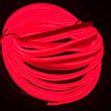 5M / 16FT EL Alambre, Luz de neón DIY Decoración Brillante Cuerda EL con Inversor USB para Fiestas de Navidad Cosplay(Rojo)