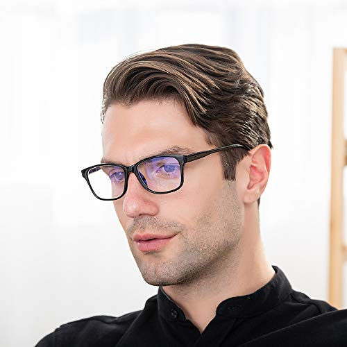 Blue Light Blocking Computer Glasses 2 Pack Anti Eye Eyestrain Unisex(Men/Women) Glasses with Spring Hinges UV Protection (Black and Twilight)