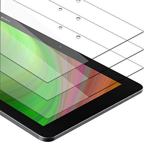Cadorabo Película de Armadura 3X Compatible con Sony Xperia Tablet Z2 (10.1') - película Protectora en Transparencia ELEVADA Paquete de Vidrio Templado en dureza 9H con compatibilidad táctil 3D