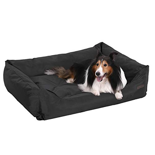 FEANDREA Dog Bed, XXL Dog Basket, Comfortable Dog Sofa, Cosy Pet Bed in Bedroom, Living Room and Hallway, Easy to Clean, Non-Skip, 120 x 85 x 30 cm, Black PGW30H