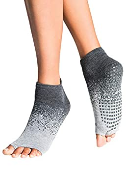 Tucketts Anklet Toeless Non-Slip Grip Socks Made in Colombia Full Ankle Style Perfect for Yoga Barre Pilates Small/Medium 1 Pair Glacial Moraine