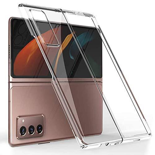 Miimall Kompatibel mit Samsung Galaxy Z Fold 2 Hülle (Rückseite & vorne), Transparent Hartes PC Handyhülle Anti-Gelb Kratzfest Bumper Hülle für Samsung Galaxy Z Fold 2 5G 2020