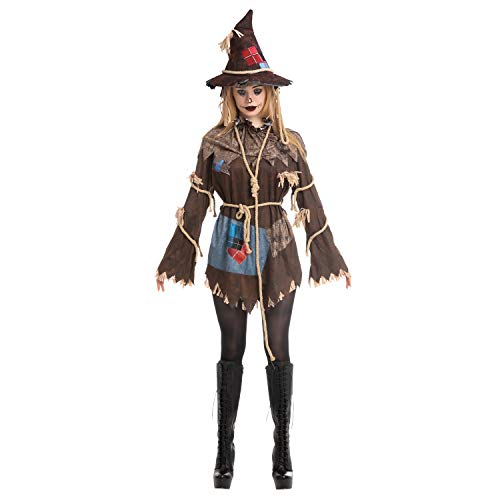 Adult Women Scary Scarecrow Costume (Large) Brown