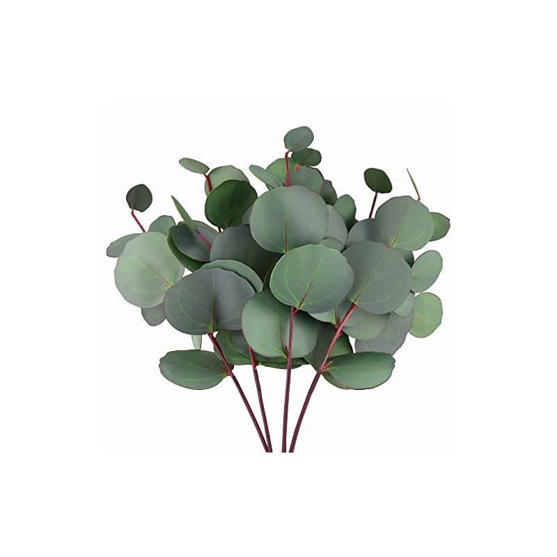 silk flower arrangements fiveseasonstuff real touch eucalyptus leaves, silver dollar eucalyptus, realistic artificial plants, flower fillers, greenery décor for home garden wedding decoration sprays (4 stems)