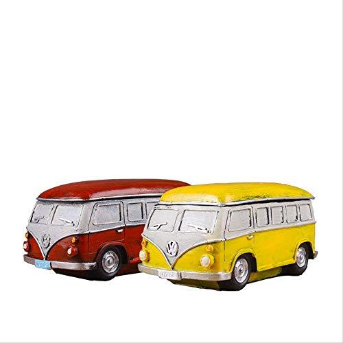 AMITD figuren ornamenten figuren decor retro bus met deksel creatieve asbak praktisch cadeau verjaardagscadeau internet bar auto decoratie spaarvarken