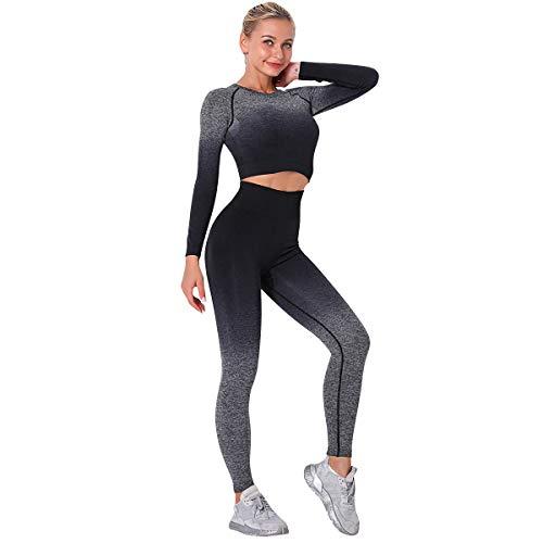 OBEEII Damen Langarm Freizeitanzug Sportanzug Jogger Bauchfrei Jacke mit Reißverschluss Sporthose Set Jogginganzug Schwarz XS