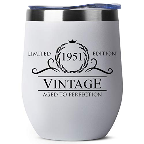 70th Birthday Gifts for Men - 1951 12 oz White Stemless Wine Tumbler - 70th Birthday Decorations for Men - Birthday Gifts for 70 Year Old Man Dad Grandpa - Funny 70th Birthday Idea Presents for Men