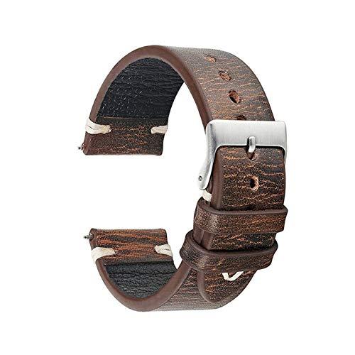 DXFFOK Reloj Strap 18 20 24 22mm Correa de Reloj de Cuero para Samsung Galaxy Watch Band Gear S2 S3 Classic Frontier Active para Huawei Watch GT Strap (Band Color : Brown, Band Width : 22mm)