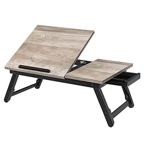 SONGMICS Tavolino per Laptop, Vassoio da Letto, con Piano Inclinabile, di Servizio per Colazione con Gambe Regolabili in Altezza, per Display fino a 15,6 Pollici, Greige LLD105W01