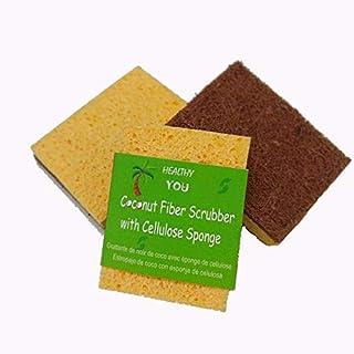 Coconut Fiber Dish Scrub with Cellulose Sponge (Set of 2)